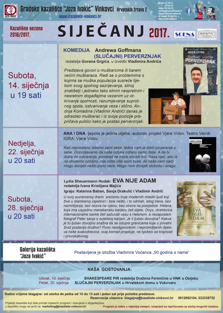 Kazalište Vinkovci, program za siječanj 2017.