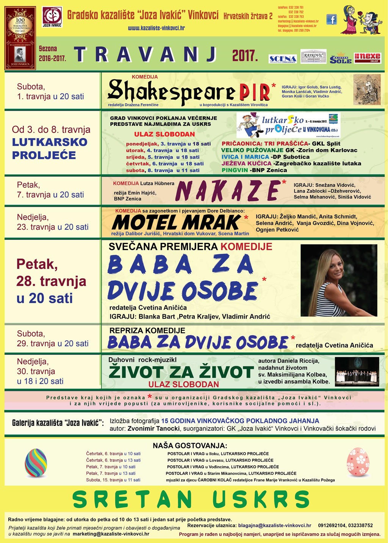 """Program Gradskog kazališta """"Joza Ivakić"""", travanj 2017"""