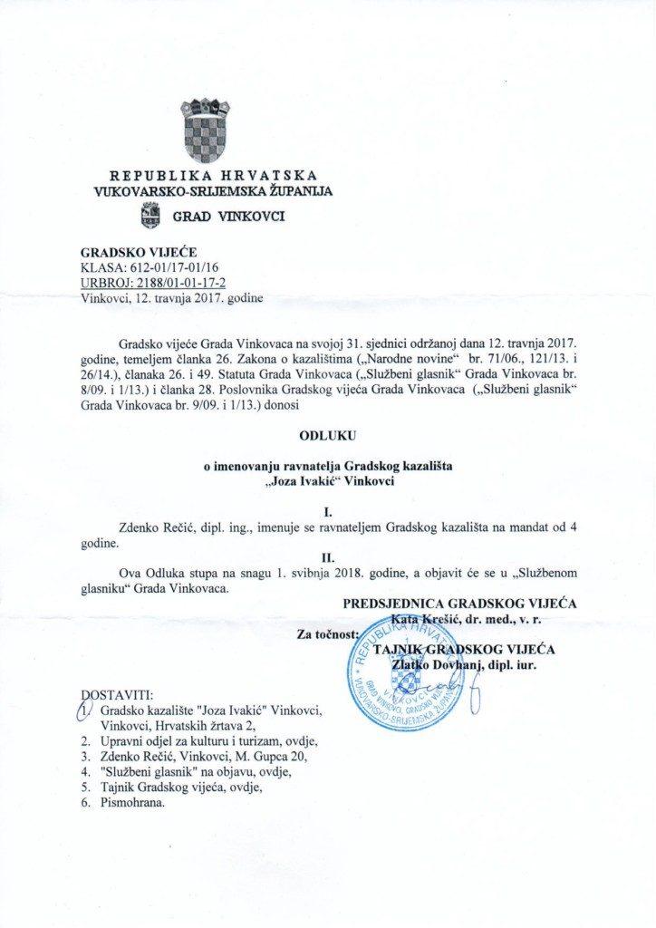 Odluka o imenovanju ravnatelja
