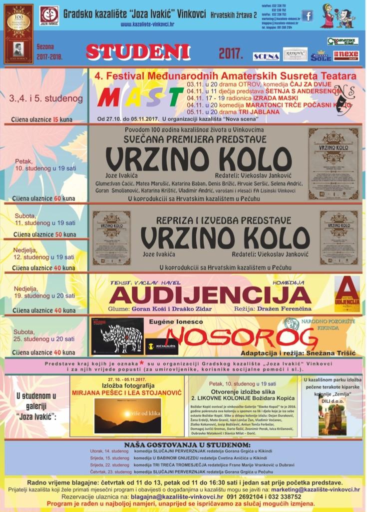 """Program Gradskog kazališta """"Joza Ivakić"""", studeni 2017."""