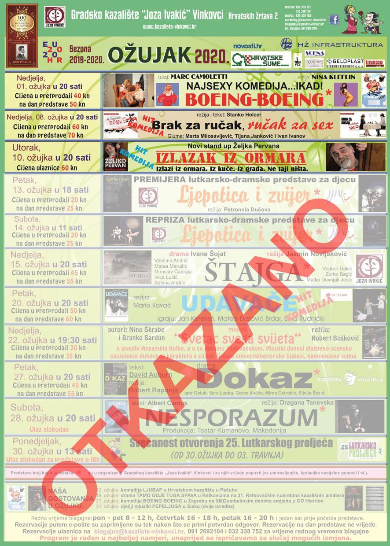 """Program Gradskog kazališta """"Joza Ivakić"""", ožujak 2020."""