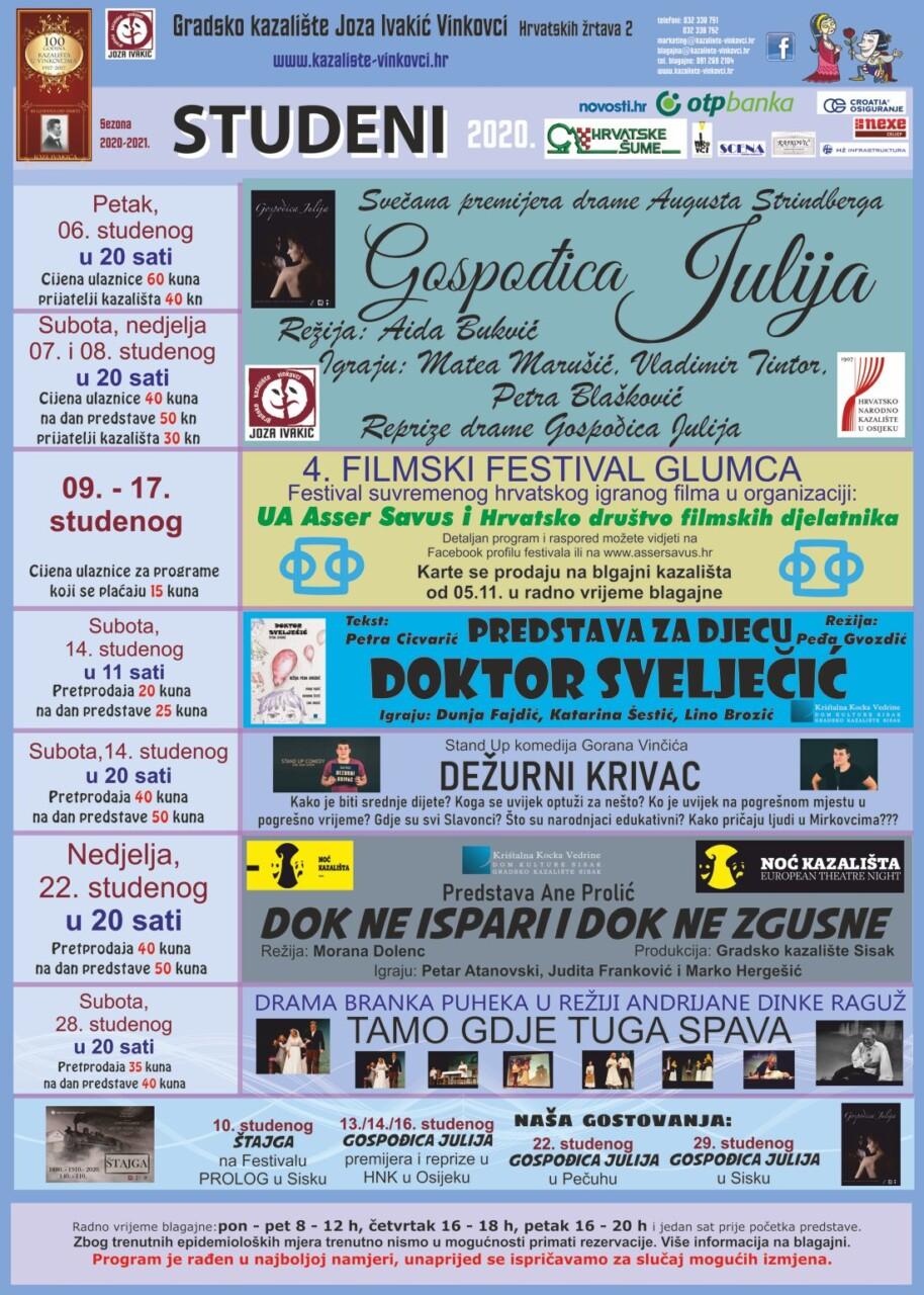 Gradsko kazalište Joza Ivakić Vinkovci, program za studeni 2020.